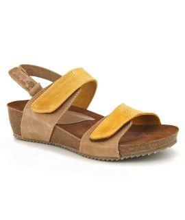 Sandale liège Inter Bios 5343 marron et jaune