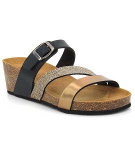 Kedzaro Lecce bronze, nus pieds compensés confort pour femmes