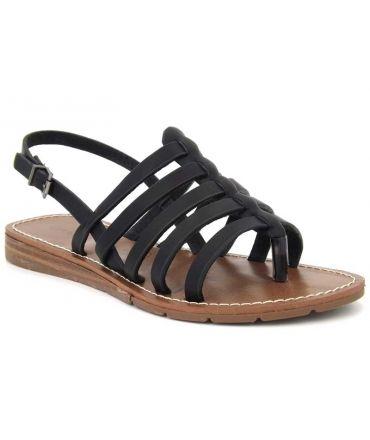 Nu-pied Chattawak Shirley noir, sandales petit talon pour femmes, nouveauté