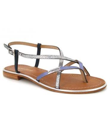 Sandale Les Tropéziennes par M Belarbi Monaco bleu argent pour femmes
