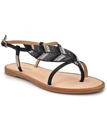 Sandales Les Tropéziennes Oktavi noir décor feuille et strass