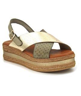 Carla Tortosa 1550 Fango kaki, sandale confort pour femmes
