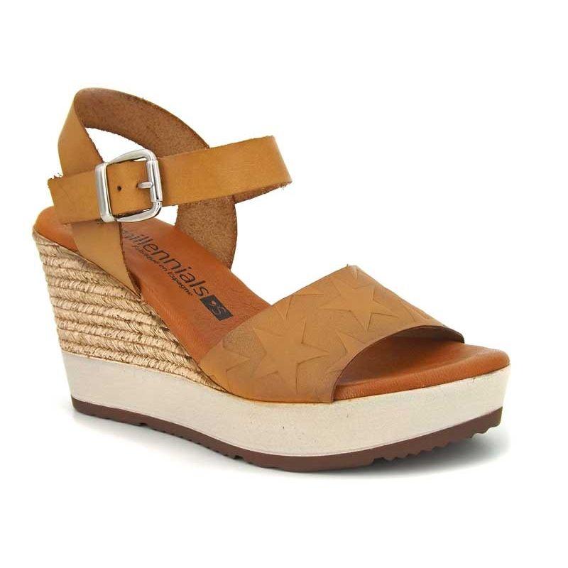 5b63aa28dcad3a Sandale compensée femmes Millennials Shoes 3213 Milmosta jaune. Loading zoom