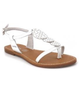 Lpb Shoes sandale plate avec bijoux Pipa blanc