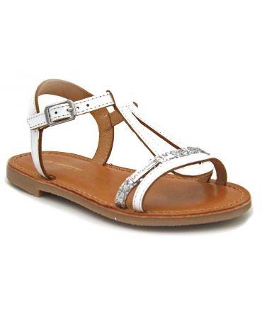 Les Tropéziennes Bada blanc argent sandale fillette en cuir