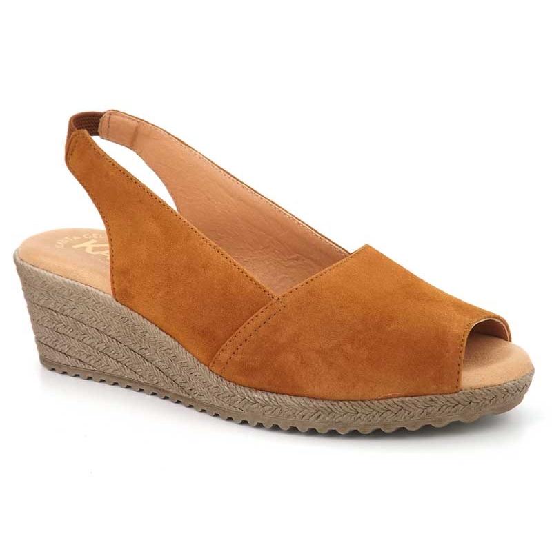 Sandales Kaola 191 marron, nus pieds compensés semelle gel