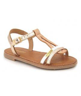 Les Tropéziennes Bada or, sandale fillette en cuir semelle gomme