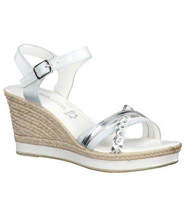 Compensé Marco Tozzi 28360-24 blanc, sandales femmes en cuir
