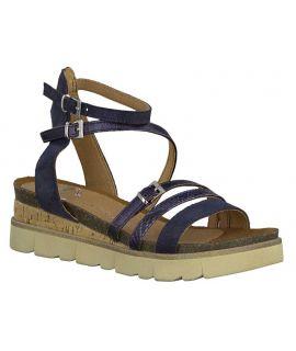 Marco Tozzi 28500-24 bleu, sandale anatomique cuir pour femmes