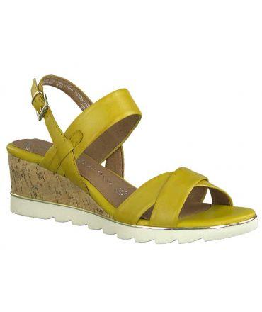 Sandale Marco Tozzi 28724-24 jaune, nu-pieds en cuir confortables