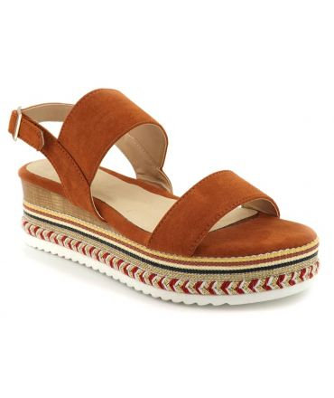 Elue par Nous Gorette marron, sandale plateforme pour femmes
