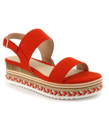 Elue par Nous Gorette corail, sandale plateforme pour femmes