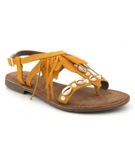 Sandale style ethnique Elue par Nous Gaiete jaune pour femmes
