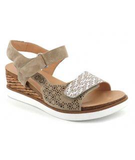 Chaussures Fugitive Nenuf taupe, sandale compensée pour femmes
