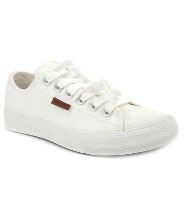 Tennis basses en toile Dockers by Gerly 40 TH 201 blanc, nouveauté chaussures pour femmes