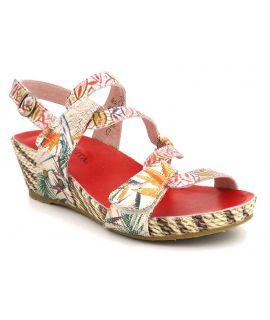 Laura Vita Beclindao 201 rouge, sandale confortable pour femmes