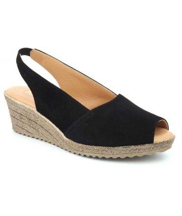 Sandale confort Kaola 191 en cuir noir, spécial pieds sensibles