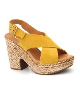 Sandale compensée Kaola 425 Amarillo, nouveauté chaussures cuir