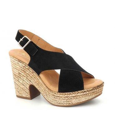 Kaola 425 Ser cuir noir, sandale compensée brides croisées