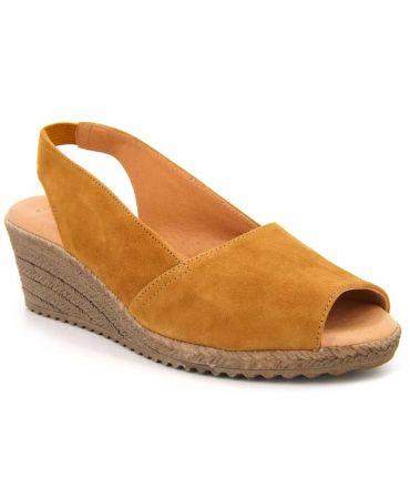 Chaussures Kaola 191 jaune safran, compensé confortable pour femmes