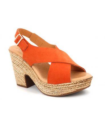 Kaola 425 Corail, sandale compensée confortable pour femmes