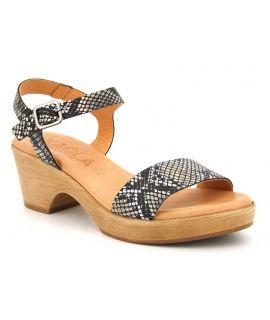 Sandale cuir Kaola 710 aspect serpent multicolore, trotteur petit talon pour femmes