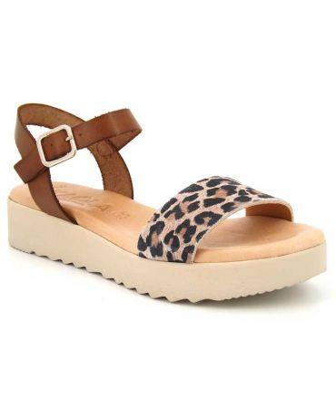 Kaola sandale 3483 léopard, nus-pieds confortables pour femmes