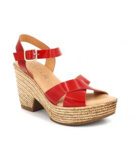 Sandale gros talon Kaola 472 Altamira en cuir rouge vernis pour femmes