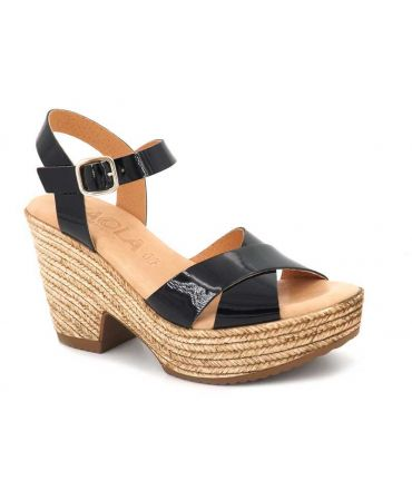 Sandale Kaola 472 Altamira en cuir noir vernis pour femmes