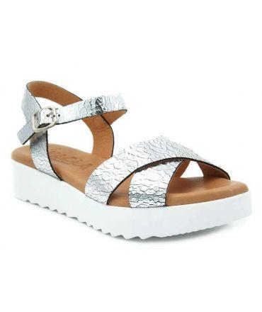 Sandale pour pieds sensibles kaola 3411 en cuir argenté craquelé