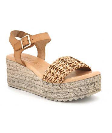 Sandale compensée Kaola 951 en cuir et raphia beige
