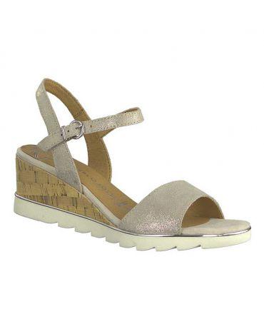 Marco Tozzi 28724 22 beige, sandale cuir confortable petit compensé