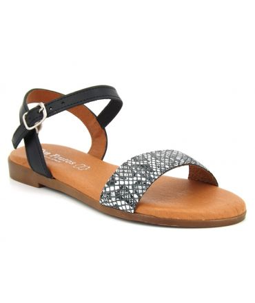 Eva Frutos 9190 Boa noir, sandale imitation serpent, semelle gel pour femmes