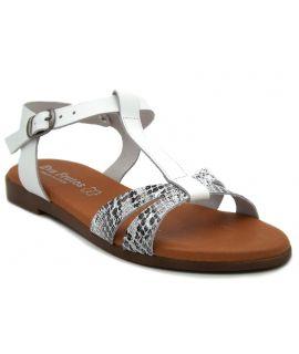 Sandale cuir Eva Frutos 9184 blanc serpent, nu pieds confortable pour femmes