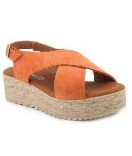 Compensé Eva Frutos 714 corail, sandale plateforme spécial pieds sensibles pour femmes