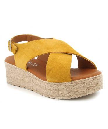 Plateforme Eva Frutos 714 jaune, sandale plateforme spécial pieds sensibles brides croisées pour femmes