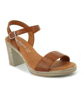 Sandale talon Eva Frutos 990 camel en cuir imitation croco