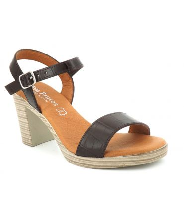 Nu pieds Eva Frutos 990 marron , sandale à talon en cuir mode et confortable
