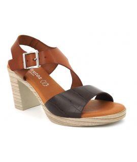 Sandale à talon Eva frutos 919 marron multi, chaussure été pour femmes