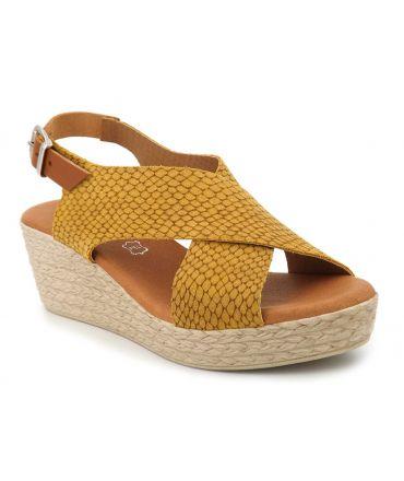 Eva Frutos 416 jaune, sandale brides croisées confortable