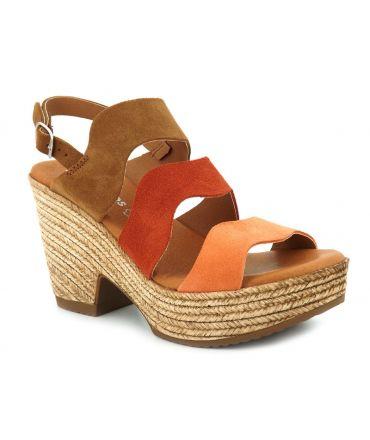 Eva Frutos 846 multi, sandale talon compensé en cuir nubuck pour femmes