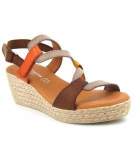 Compensé Eva Frutos 428 en cuir marron, nouveauté chaussure confort