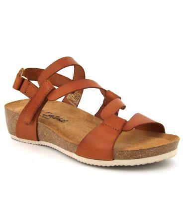 Sandale Carla Tortosa 27102 en cuir marron, semelle liège anatomique