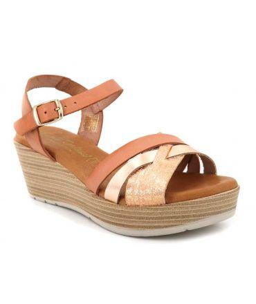 Sandale compensée Carla Tortosa 82037 en cuir rose multi
