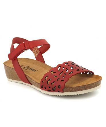 Sandale bio Carla Tortosa 27149 rouge, semelle anatomique pour femmes