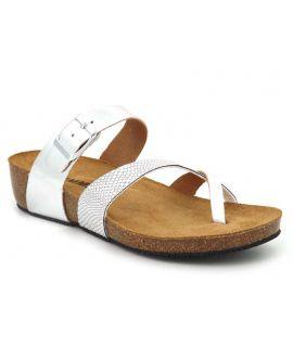 Tong Emma shoes 8966 Boa argenté, passe orteil confort pour femmes