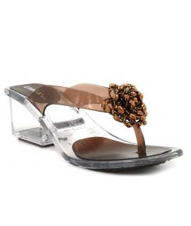 Tongs Emma Shoes Paris bronze, talon transparent pour femmes