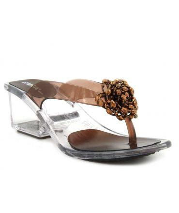 Tongs Emma Shoes Paris bronze, talon transparent pour femmes