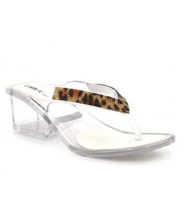 Emma Shoes Frejus, tongs transparentes avec bijoux pour femmes