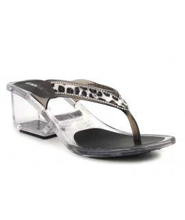 Emma Shoes Lyon, tong à talon en plexi fumé motif léopard et brillants